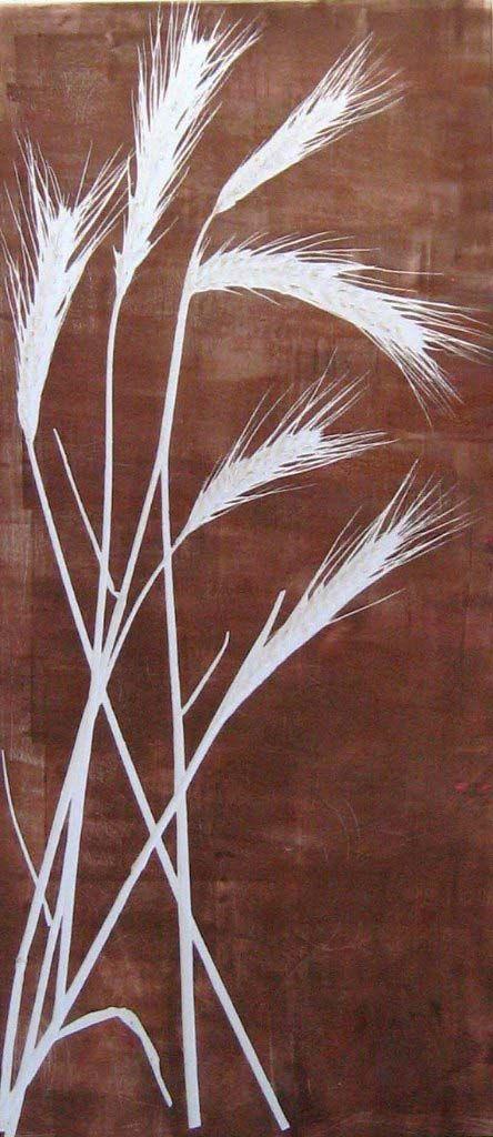 """Monotype print by April Jordan.  """"Grass on Brown"""""""