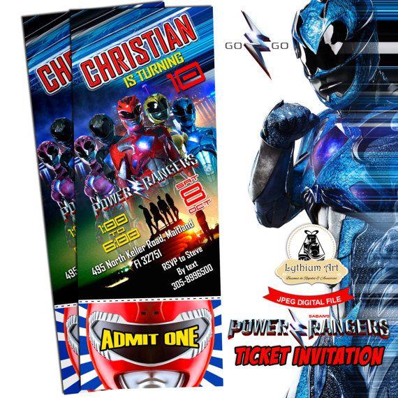 Power Rangers Ticket Invitation  Power Rangers Printable