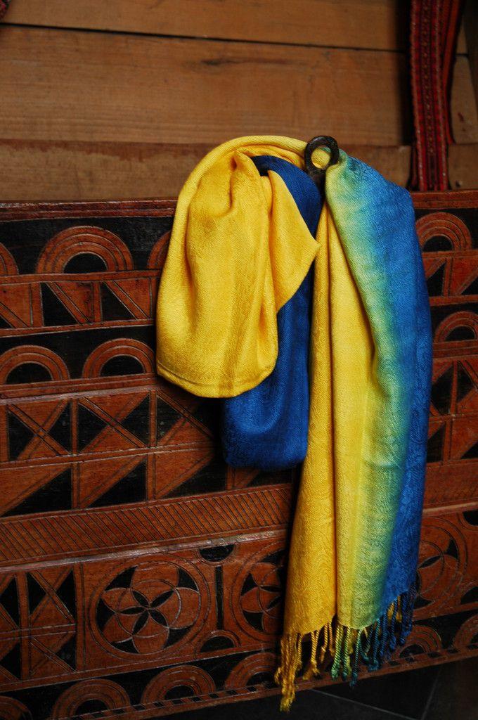 Ukraine pashmina! Blue and yellow in soft silk and viscose www.PostmarkUkraine.com