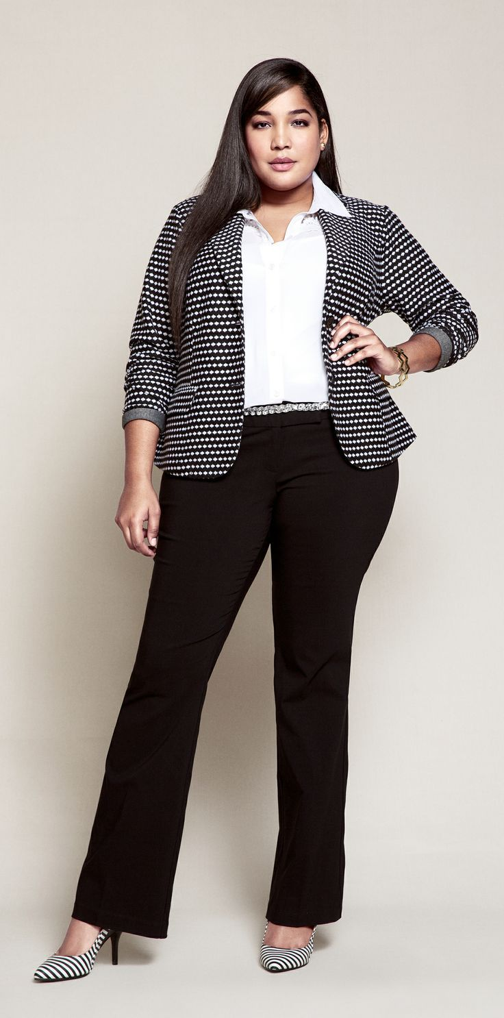 Plus Size Work Outfit A Polka Dot Blazer And Striped Shoes Stand Out In Sea Of Suits
