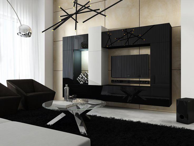 Meblościanka SIZE C22 - biały/czarny mat / biały/czarny połysk  #furniture #size #concept22 #concept  #bw #black #meble #sklepmeble #polskiemeble #livingroom #TVset