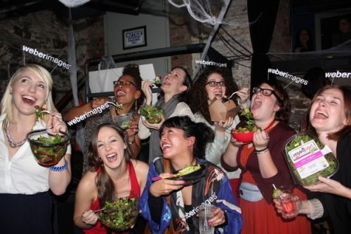 """This image is of girls dressing up as the """"girl laughing with salad"""" meme for Halloween. I thought it was funny since we will be discussing the original image and other stock photos that undermine feminism during class. (Berman)"""