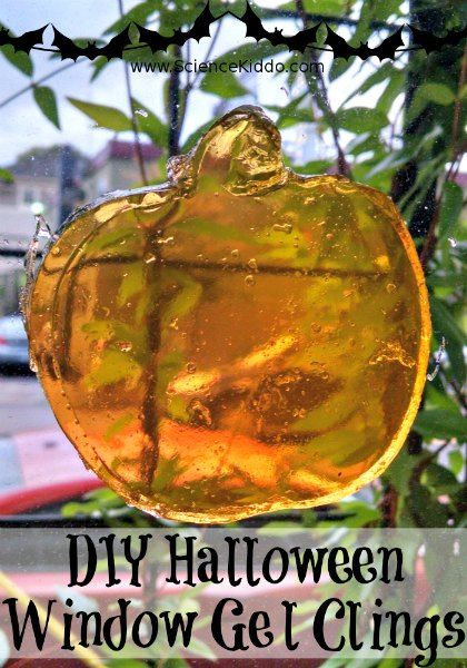 Discover how to make your own Halloween window gel clings with 3 kitchen ingredients. Nontoxic, squishy, festive, colorful fun the kids will love!