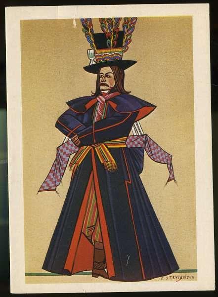 Kujawiak, Man wearing national costume, Poland, by Z. Stryjenska