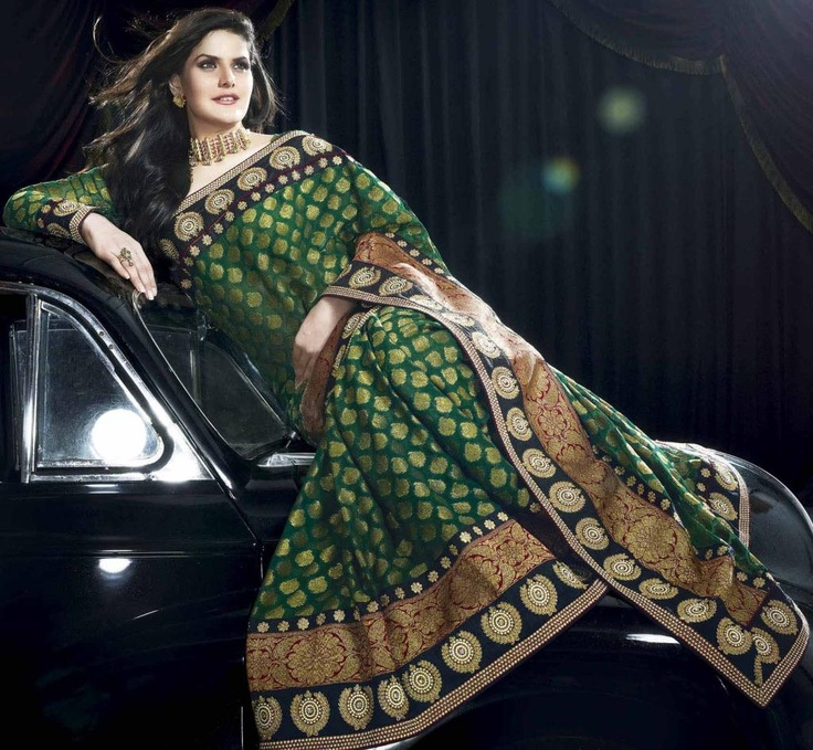 Green Jacquard Bollywood Saree 20291 With Unstitched Blouse. $157.41