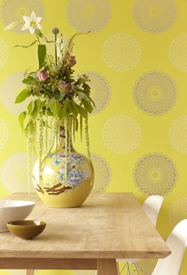 vibrant design modern floral wallpaper. Verdant and cultured kitchen with midcentury modern chairs  gorgeous spring floral arrangement a vibrant mod chartreuse wallpaper 321844 Green Mod 91 best Wallpaper images on Pinterest Pattern Wall