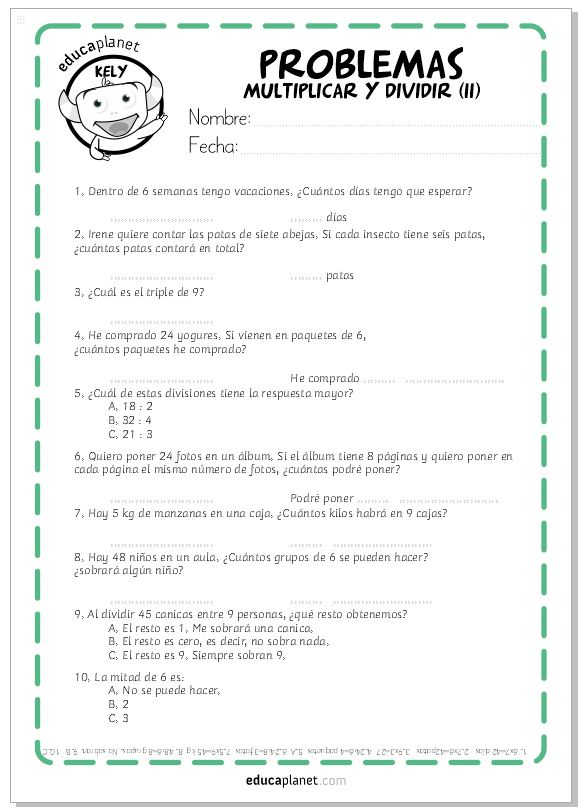 Ficha Problemas para Imprimir Multiplicar y Dividir
