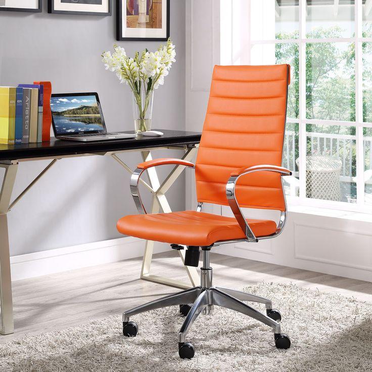 jive modern orange vinyl aluminum highback office chair