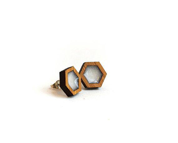 Hexagon Resin Earrings White Resin Earrings by HeartoftheHeart