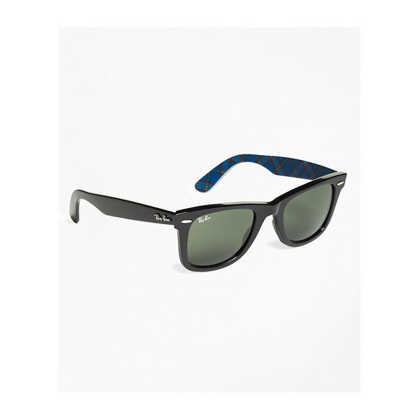 Brooks Brothers Ray-Ban?(R) Wayfarer Sunglasses with Tartan (9,600 INR) ❤ liked on Polyvore featuring men's fashion, men's accessories, men's eyewear, men's sunglasses, mens wayfarer sunglasses and men's wayfarer style sunglasses