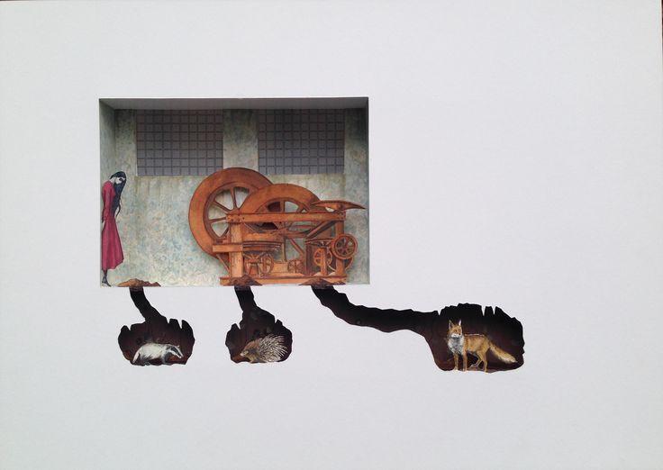Bilocale  2 ( Chernobyl's animals), 2015, acrilico e acquerello su carta, cm 50x70