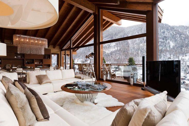 Chalet Zermatt Peak Zermatt living room with TV and views