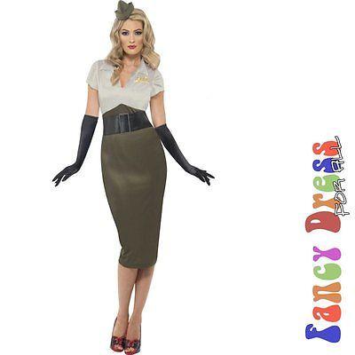 1940s WW2 WARTIME ARMY PIN UP Womens Fancy Dress Costume Medium Size 12-14