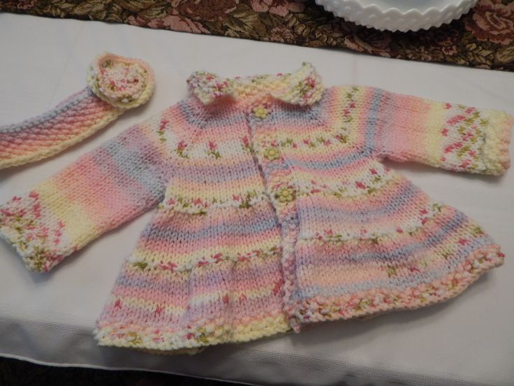 6 mth knitted coat and hair band for charity