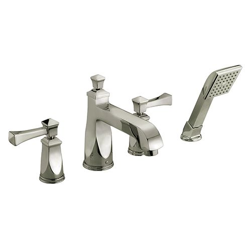 Brushed Nickel Tub Low Lead Faucet with Hand Held Shower Nozzle