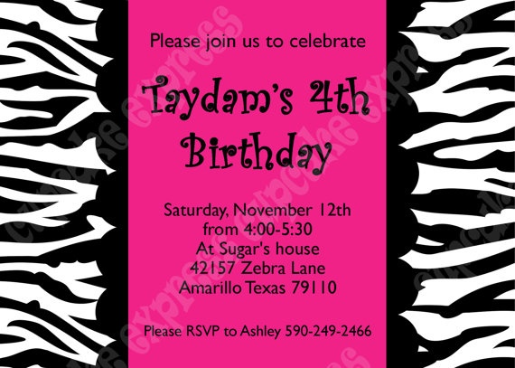 DIY hot pink Zebra  Birthday Party  PRINTABLE by CupcakeExpress, $10.00