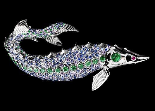 Brooch Sturgeon - buy in Mousson Atelier - black gold, ruby, tsavorites, multicolored sapphires, diamonds