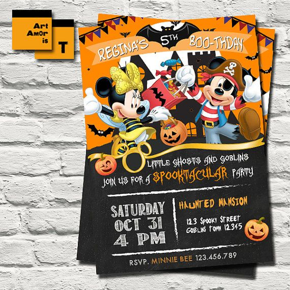 Mickey Mouse Halloween Birthday Invitation Minnie by ArtAmoris