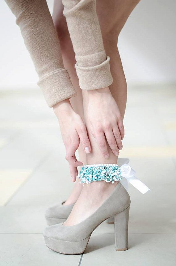 Ankle cuff bracelet  embroidered blue turquoise by RasaVilJewelry