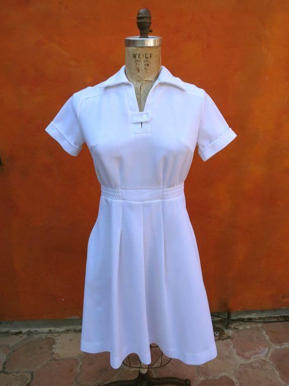 "Vintage 1960s 1970s White Maid Housekeeping Waitress NURSE Uniform Dress  $55 Waist up to 30"""