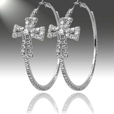Cowgirl Bling Ranch, LLC - Rhinestone Cross Hoop Earrings Silver, $9.99 (http://www.cowgirlblingranch.com/rhinestone-cross-hoop-earrings-silver/)