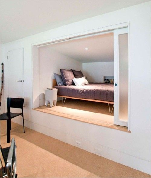 Best 25 hidden bed ideas on pinterest for Bed nook ideas