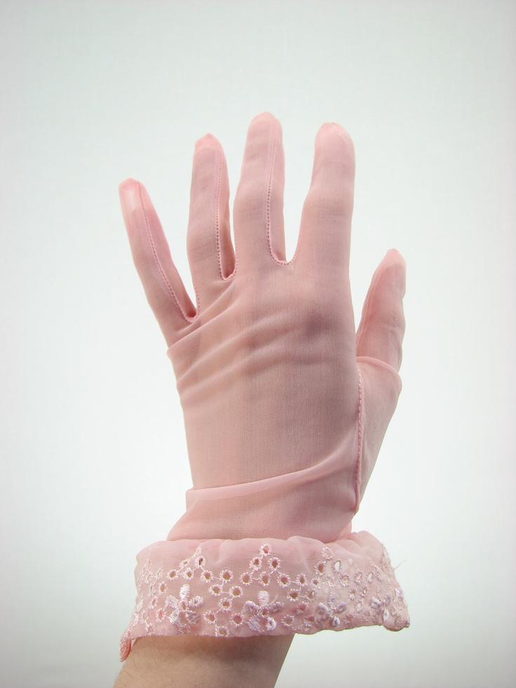 Vintage sheer pink gloves
