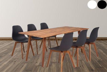 Luxe eetkamerset van massief acasiahout | Keuze uit een 7- of 9-delige set