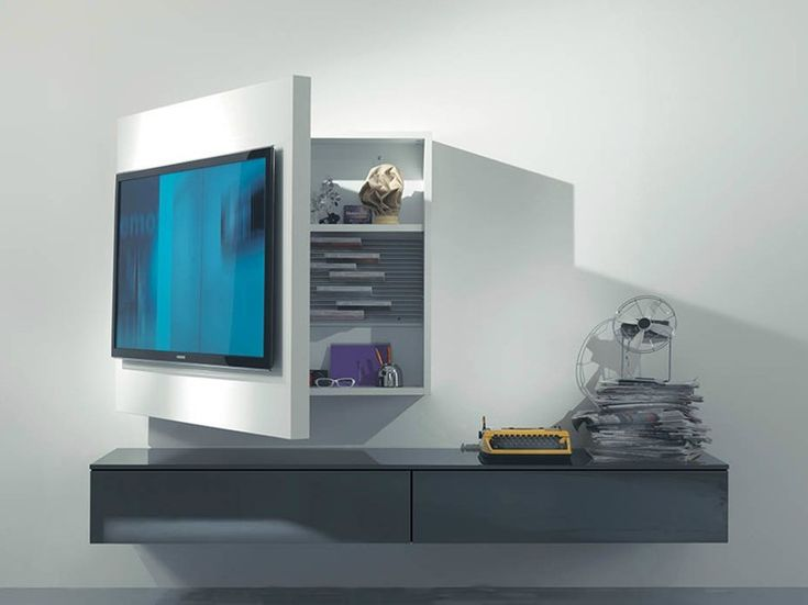 lacquered adjustable wallmounted tv cabinet rack 3 by fimar