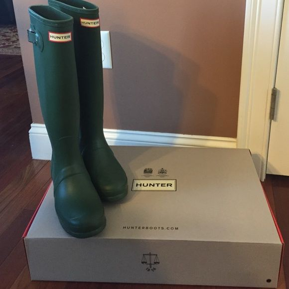 Green Hunter Boots Original tall Hunter Boots in matte green. Never worn. New in box. US size 8 Hunter Boots Shoes Winter & Rain Boots