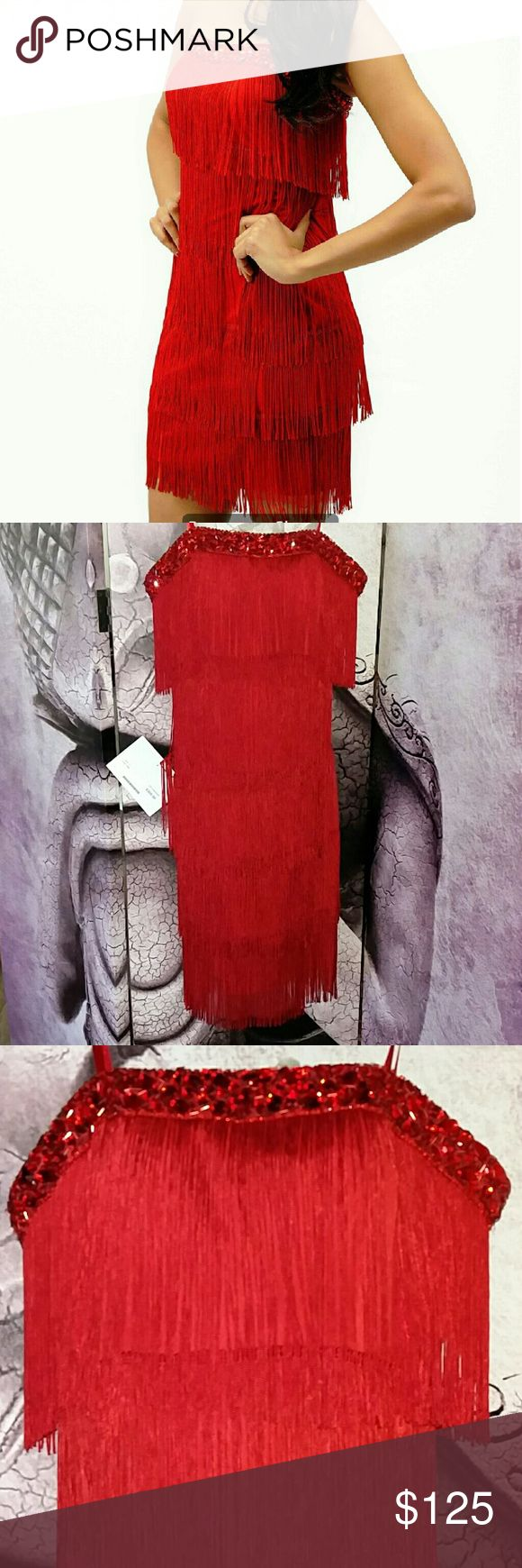 NWT Mori Lee Gardener Fringe Dress. Sz 2. Brand new with tags! Never worn or tried on. MORI LEE fun and flirty fringe mini. Red. Strapless with built-in lightly padded bust. Intricate beading on the neckline. Zipper back. The layers of fringe on this Mori Lee dress is amazing! Retails $360+ tax. This is a steal at this price - don't miss it. Mori Lee Dresses Mini