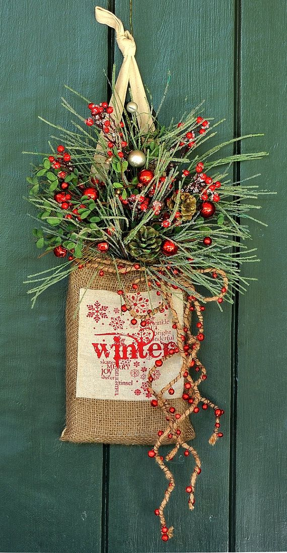 Winter Wishes - Iced Pine, Winterberry and Bell Burlap Wall Pocket, Winter Wreath, Christmas Wreath, Christmas Decor, Holiday Decor, Bells