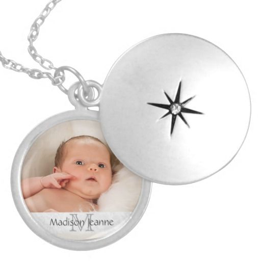Photo Gift Necklace - White/ Monogram, Custom Text