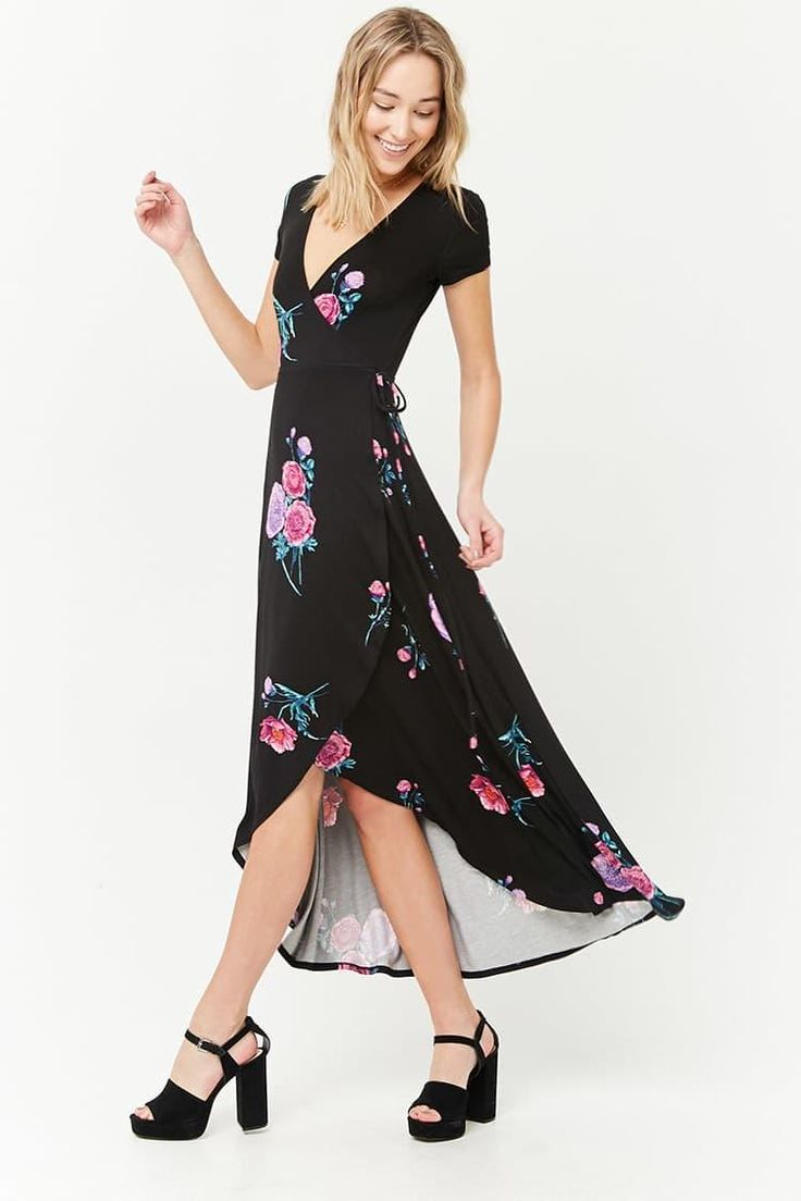 Flower & Stem Surplice Dress // 19.90 USD // Forever 21
