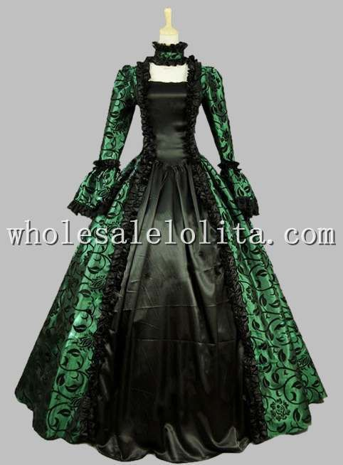>> Click to Buy << Gothic Black and Green Printing Historical Halloween Costume Ball Gown Lace Up Back Vintage Ball Gown Reenactment Clothing #Affiliate