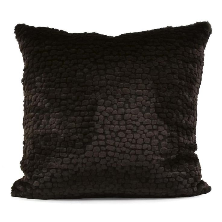 Decorative Pillow Texture : Sable Ebony Pebbled Texture Throw Pillow