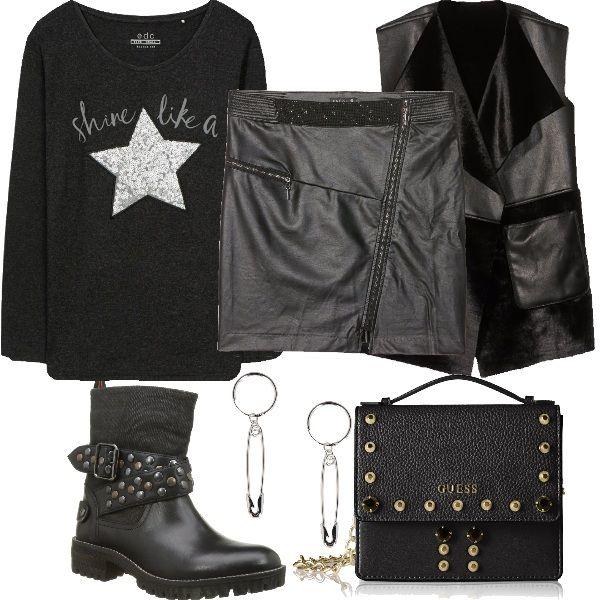 91e5a48b723ad4 Abbigliamento per una serata con gli amici, in discoteca o al pub. La  maglia a maniche lunghe di Esprit è indossata con una mini in sim…   Outfit  donna ...