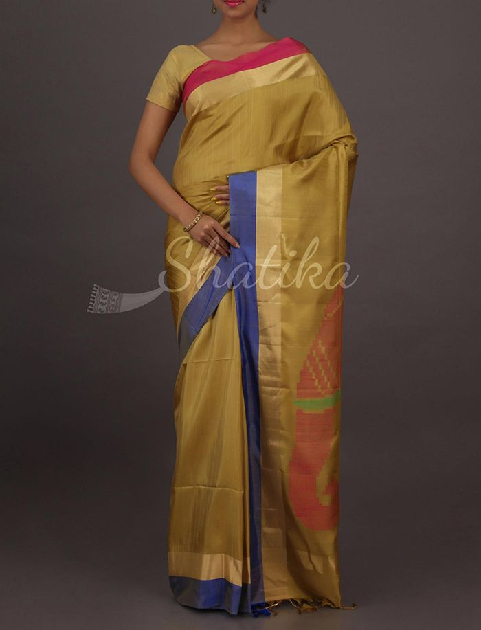 Veena Rich Creamy Elephant Craft Pallu Regal Pure #UppadaSoftSilkSaree