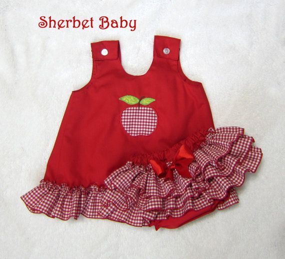 RED RIDING HOOD Apple Applique Red Gingham Check by SherbetBaby, $74.00