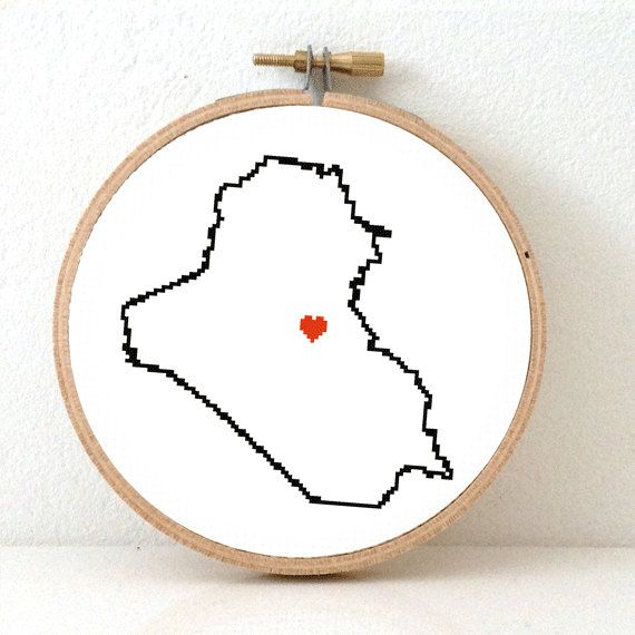 IRAQ Map Cross Stitch Pattern. Iraq Needlepoint pattern by koekoek, €3.95