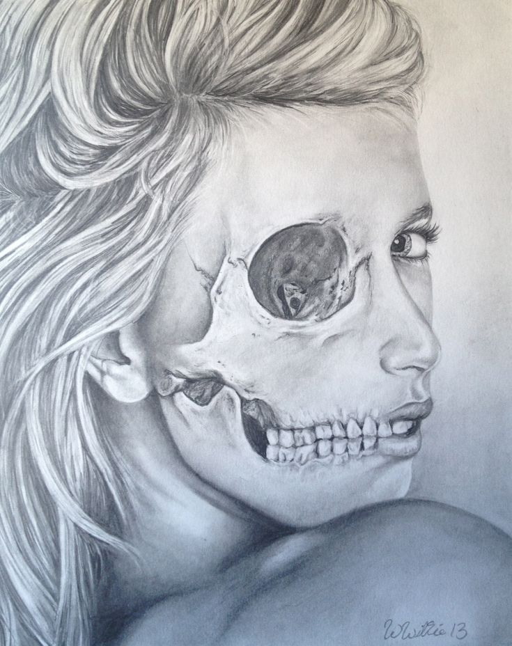 """Original drawing by Whitney Wilkie """"Skull Face"""" Prints 8x10 $20"""