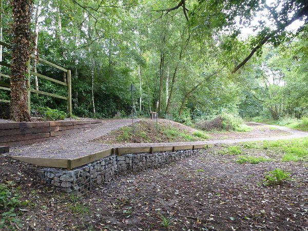 Hunt Nature Park woodland path. A more detailed view of the step free connection with Downs Link. September 2013.