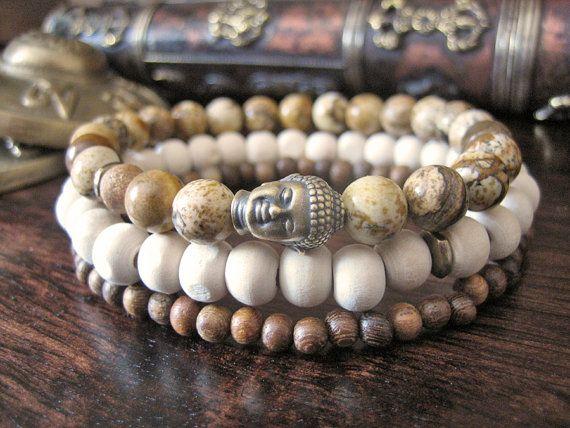 Mens Buddha Bracelet Set Mens Bracelet with by MerkabaWarrior
