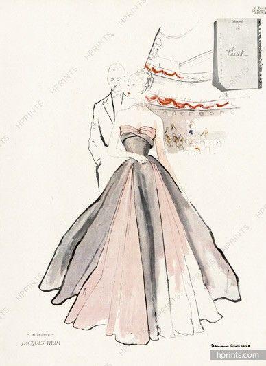 Jacques Heim 1945 Strapless Dress