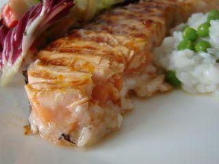 Salmão Grelhado marinado em Gengibre, Laranja e Mel, Foto 4