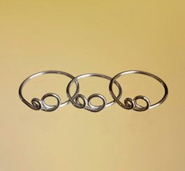 Boble-ring - spinkel ring med 2 cirkler i guld og sølv