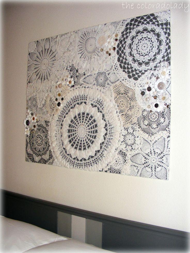 wall art using heirloom doilies and vintage buttons pinterest gardinen h keln. Black Bedroom Furniture Sets. Home Design Ideas