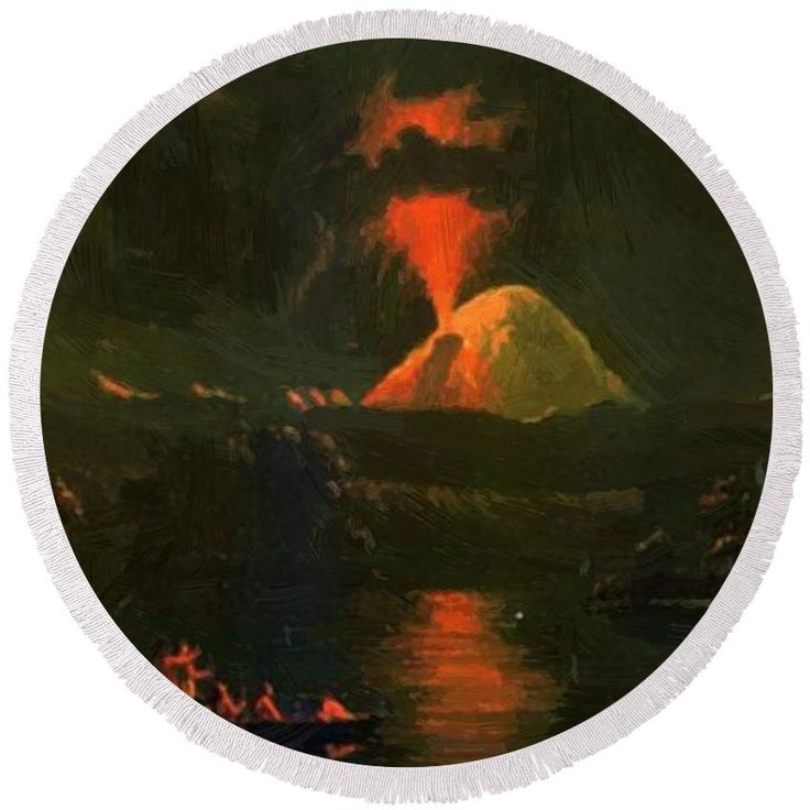 Mount Round Beach Towel featuring the painting Mount St Helens Erupting At Night by Kane Paul