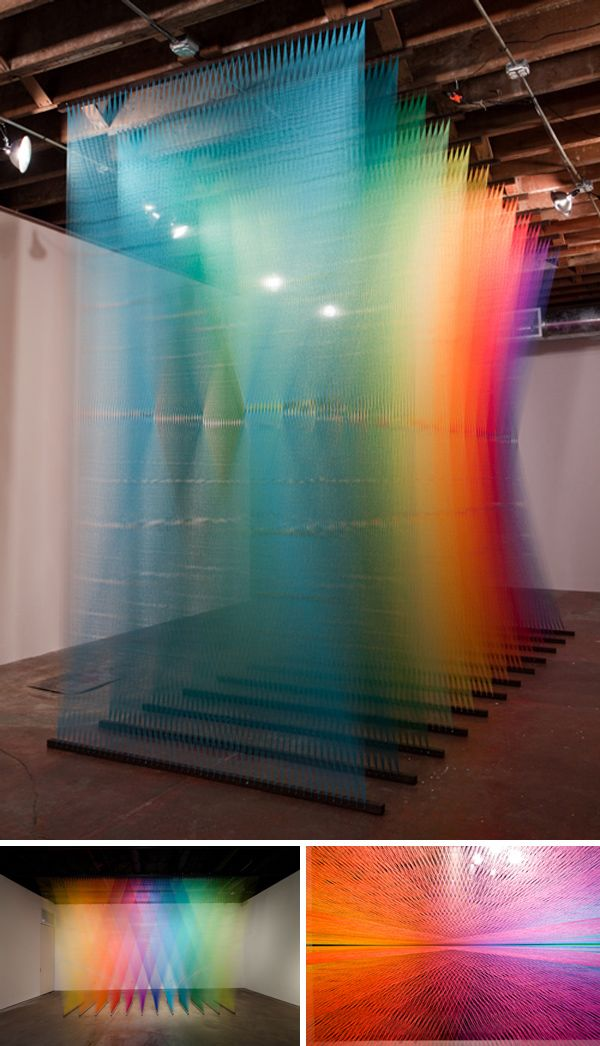 Rainbow coloured thread! | By Gabriel Dawe | The layering of thin fibers create an all new dense yet also light texture. | Interesting as dividing wall treatment.