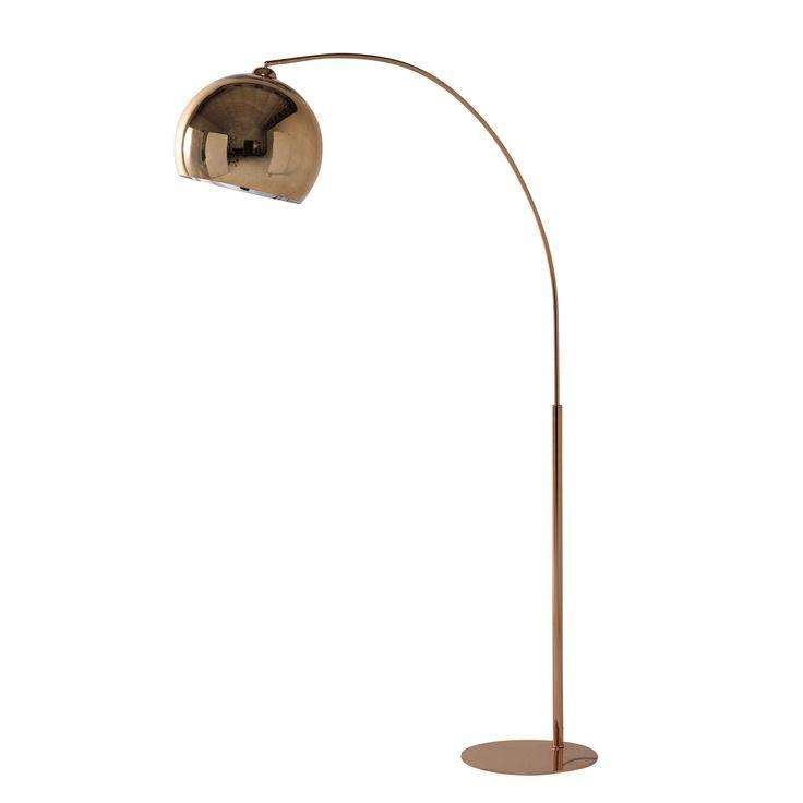 Stehlampe SPHERE COPPER aus kupferfarbenem Metall und Plexiglas®, H 195 cm